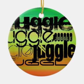 Juggle; Vibrant Green, Orange, & Yellow Round Ceramic Ornament