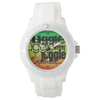 Juggle; Vibrant Green, Orange, & Yellow Wristwatch