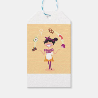 Jugglery girl brown gift tags