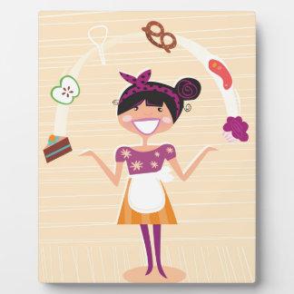 Jugglery girl brown plaque