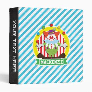 Juggling Big Top Circus Clown; Blue Stripes Vinyl Binders