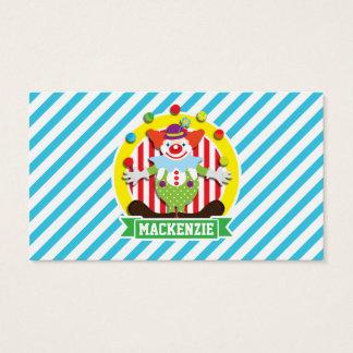 Juggling Big Top Circus Clown; Blue Stripes Business Card