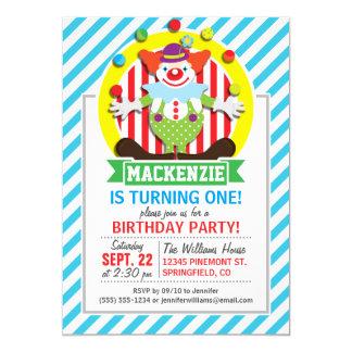 Juggling Big Top Circus Clown; Blue Stripes 5x7 Paper Invitation Card