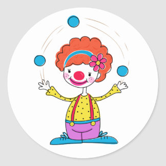 Juggling Clown Round Sticker