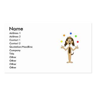 Juggling Dog Cartoon. Business Card Templates