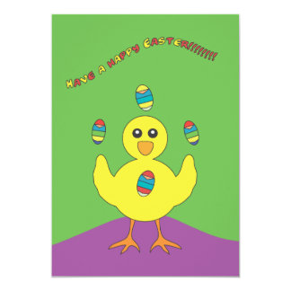 Juggling Easter Chick Invitation