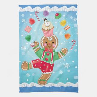 Juggling Gingerbread Man Kitchen Towel