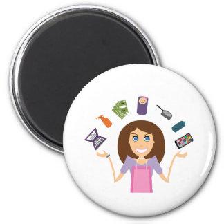 Juggling Mom (Brunette) 2 Inch Round Magnet