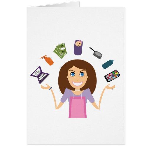 Juggling Mom (Brunette) Card