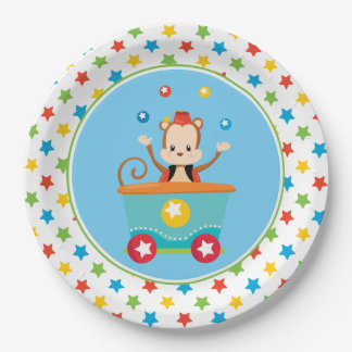 Juggling Monkey | Circus Train 9 Inch Paper Plate