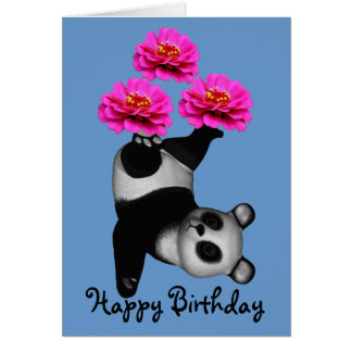 Juggling Panda Bear Zinnia Flower Birthday Card