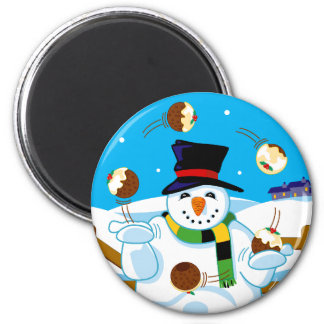 Juggling Snowman 2 Inch Round Magnet
