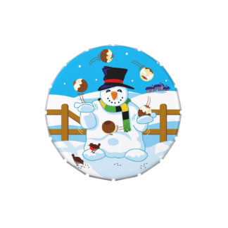 Juggling Snowman Jelly Belly Candy Tin