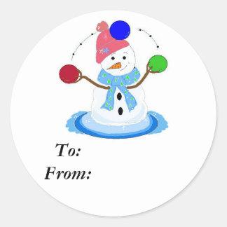 Juggling Snowman Classic Round Sticker