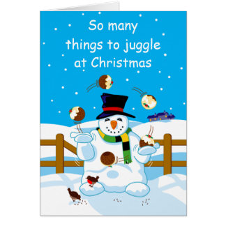 Juggling Snowman Greeting Card