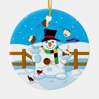 Juggling Snowman Round Ceramic Ornament