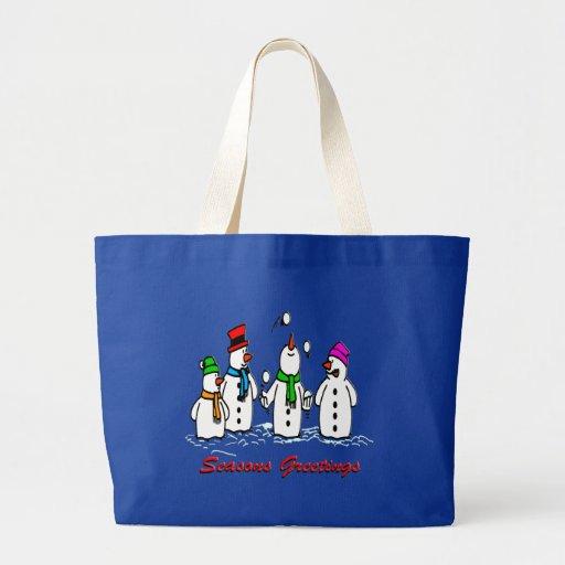 Juggling Snowmen Tote Bag