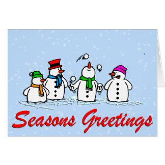 Juggling Snowmen Greeting Card