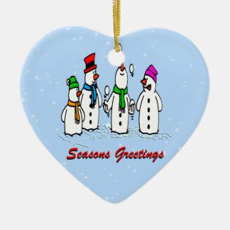 Juggling Snowmen Christmas Ornament Heart