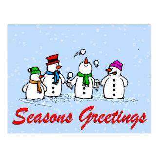 Juggling Snowmen Postcard