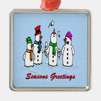 Juggling Snowmen Square Ornament