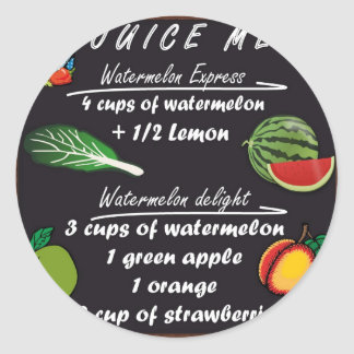 Juicing Watermelon Recipe Round Sticker