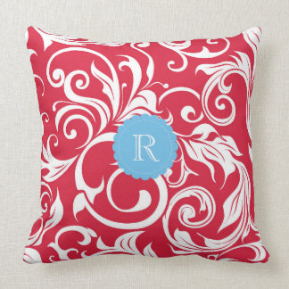 Juicy Apple Red Wallpaper Swirl Blue Monogram Throw Pillow