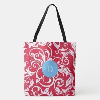 Juicy Apple Red Wallpaper Swirl Blue Monogram Tote Bag