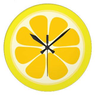 Juicy Citrus Lemon Tropical Fruit Slice Kitchen Large Clock