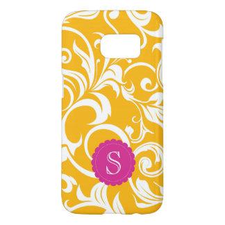 Juicy Citrus Orange Swirl Monogram Samsung Galaxy S7 Case