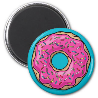 Juicy Delicious Pink Sprinkled Donut 2 Inch Round Magnet