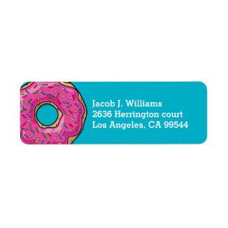 Juicy Delicious Pink Sprinkled Donut Return Address Label