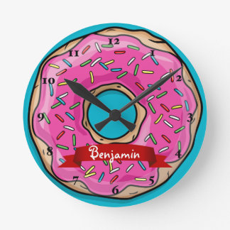 Juicy Delicious Pink Sprinkled Donut Round Clock