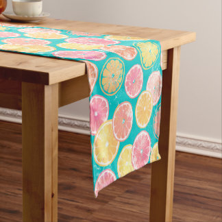 Juicy Grapefruit Slices Pattern Short Table Runner