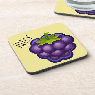 Juicy Grapes  Plastic coasters w/cork back