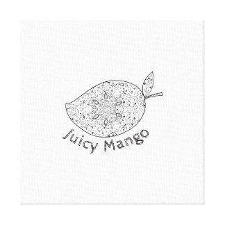 Juicy Mango Black and White Mandala Canvas Print