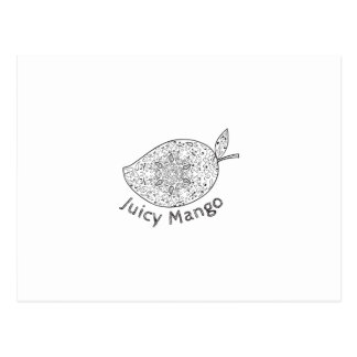 Juicy Mango Black and White Mandala Postcard