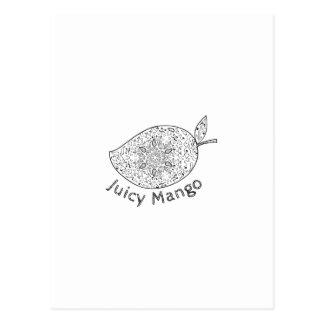 Juicy Mango Black and White Mandala Postcard