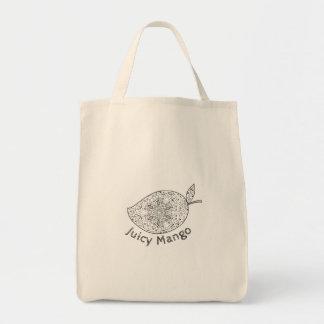 Juicy Mango Black and White Mandala Tote Bag