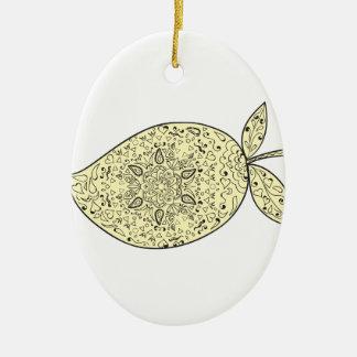 Juicy Mango Fruit Mandala Ceramic Ornament