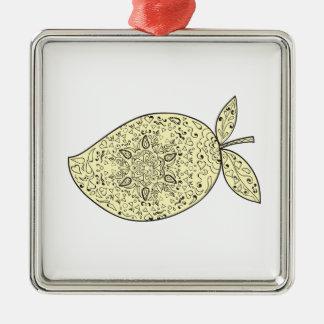Juicy Mango Fruit Mandala Metal Ornament