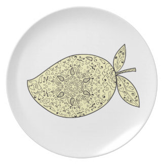 Juicy Mango Fruit Mandala Plate