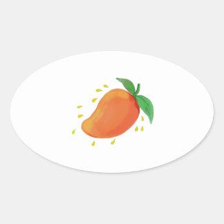 Juicy Mango Fruit Watercolor Oval Sticker