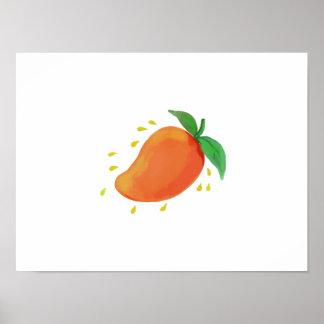 Juicy Mango Fruit Watercolor Poster