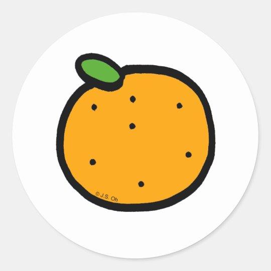 Juicy orange classic round sticker