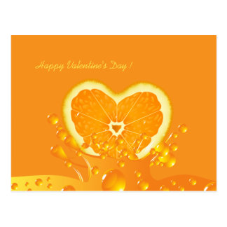 Juicy Orange Heart Valentine's Day Postcard