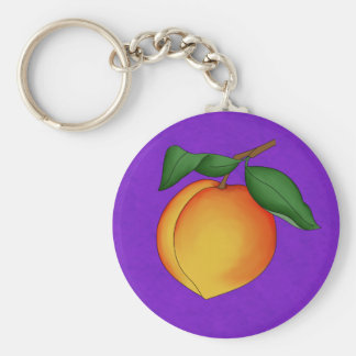 Juicy Peach & Purple Background Keychain