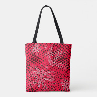 Juicy pink grunge pattern with white butterflies tote bag