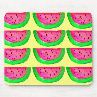 Juicy pink  watermelon fruit pattern on lemon mouse pad