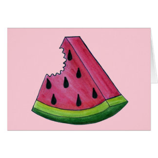 Juicy Pink Watermelon Wedge Slice Green Rind Fruit Card